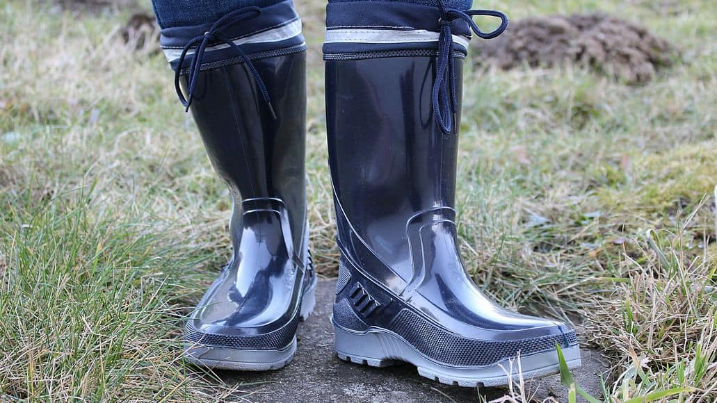 rubber boots in grass
